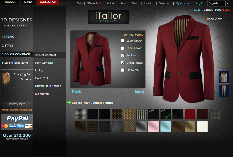 Men's Custom Suit - Burgundy