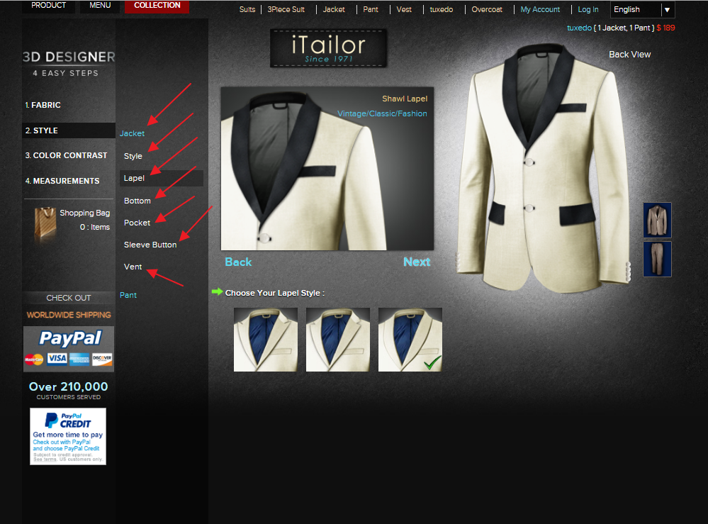iTailor Design Page - Custom Tuxedos