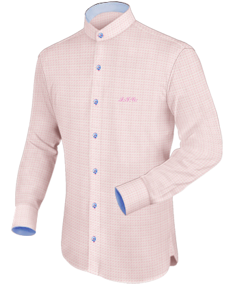 iTailor Mens Banded Collar Dress Shirts with 2 Button Angle Cuff.