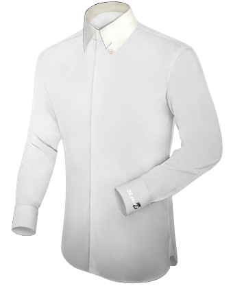 Cream Fitted Dinner Shirt with Hidden Button
