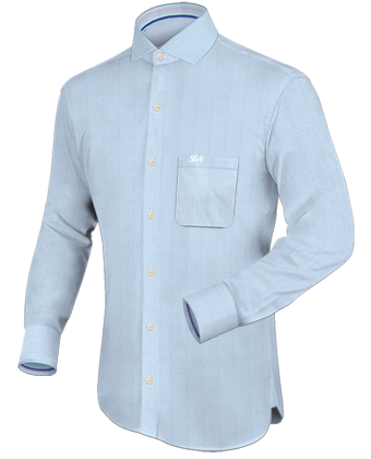 Xs Men Dress Shirt with Italian Collar 1 Button