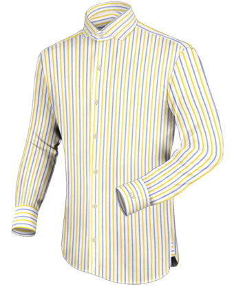 Yellow Shirt with Italian Collar 1 Button
