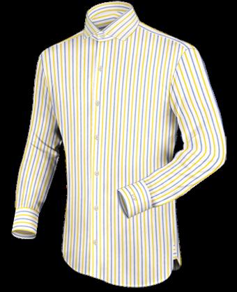 Yellow Shirt with Italian Collar 1 Button