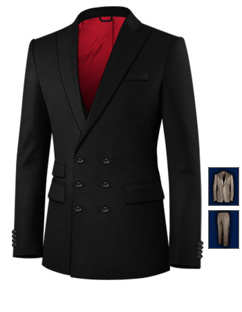 Three Pieces Suits with 6 Buttons, Double Breasted (3 To Close)