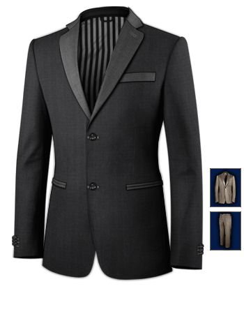 Mens Wedding Suits Silver Wedding Clothing with 2 Buttons, Single Breasted