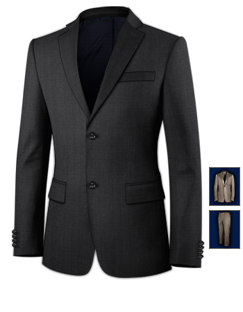 Mandarin Collar Suit with 2 Buttons, Single Breasted