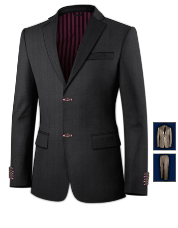 Three Piece Suite with 2 Buttons, Single Breasted